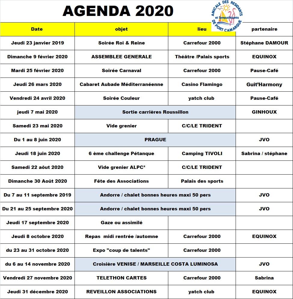 agenda 2020 validité 17-08-2019