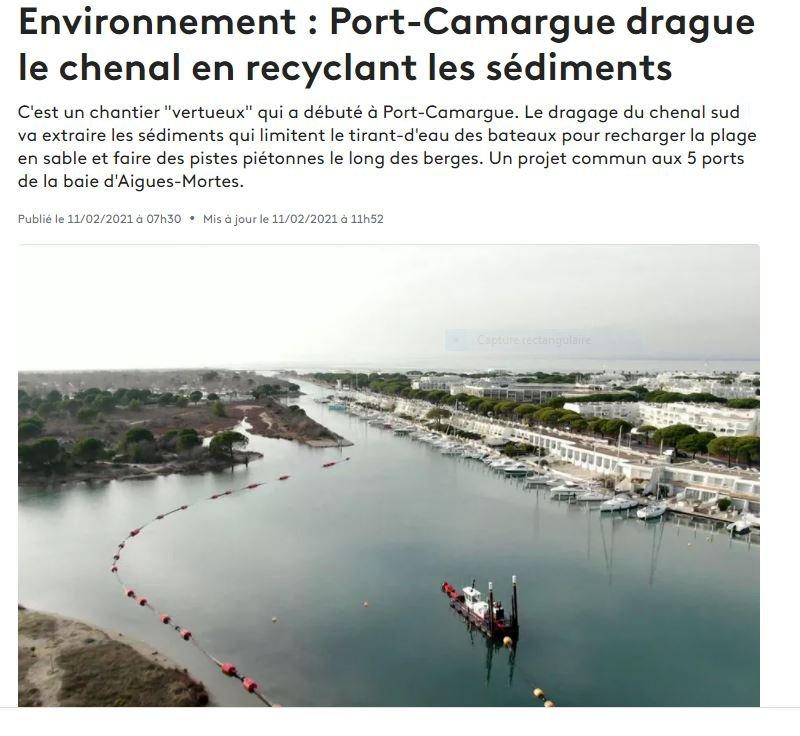 PORT CAMARGUE DRAGAGE 2021
